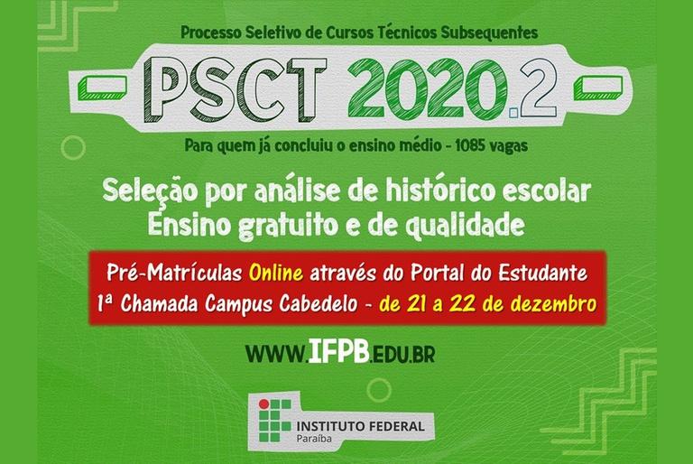 Pré-Matrícula 1a Chamada - PSCT 2020.2