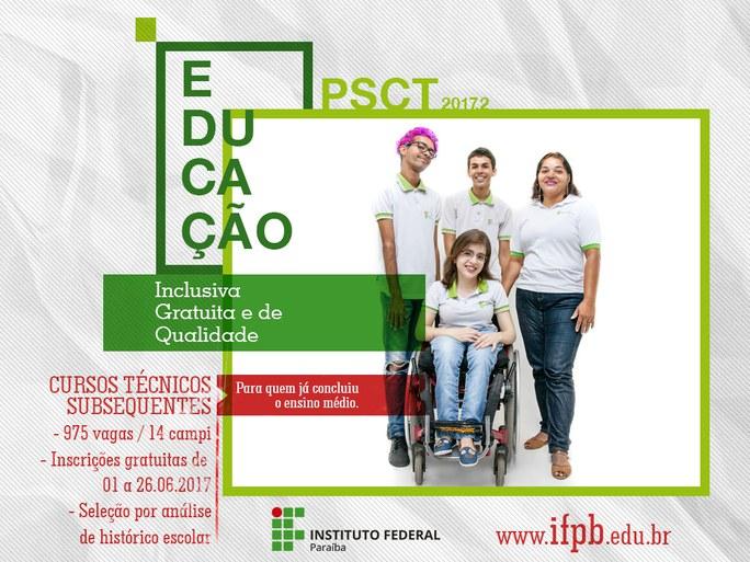 Oportunidade é para ensino técnico subsequente e a inscrição é online e gratuita. Campus Cajazeiras tem 80 vagas.