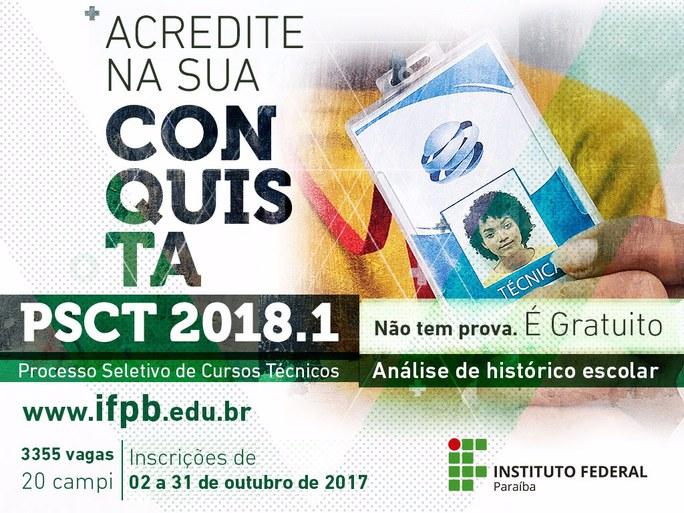 Candidatos podem se inscrever gratuitamente pelo portal do estudante do IFPB até 31 de outubro.