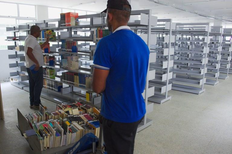 Organização dos livros na nova biblioteca
