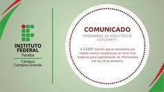 Alunos atendidos pelos programas de assistência estudantil que estão em lista anexa devem comparecer a CAEST até o dia 14 de setembro