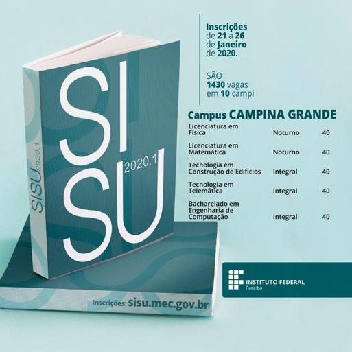 Campus Campina Grande disponibiliza 200 vagas. Inscrições de 21 a 26/01 para estudantes que fizeram o Enem 2019