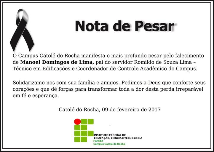 Campus Catolé do Rocha lamenta falecimento do pai de servidor