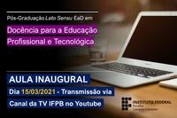 Solenidade será transmitida pela TV IFPB através de seu Canal no YouTube