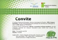 A coordenação-adjunta do Pronatec IFPB, campus Guarabira,  convida para a cerimônia de certificação dos alunos do PRONATEC pactuação 2015.2.
