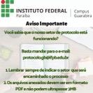 O atendimento está ocorrendo pelo e-mail do setor: protocolo.gb@ifpb.edu.br