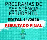 Divulgado resultado final do edital 11/2020 e suas retificações e próximos passos para os deferidos até o recebimento do auxílio estudantil.