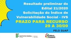 Divulgado resultado preliminar do Edital DG 21/2020 - Solicitação de IVS
