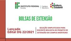 Edital DG 22/2021 de seleção simplificada para discente bolsista de projeto de extensão