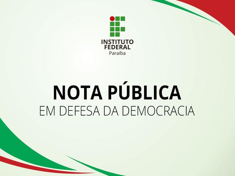 IFPB divulga nota reafirmando seu compromisso com a democracia, com a educação plural e libertadora