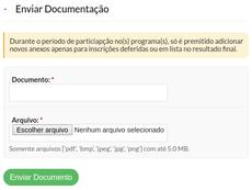 Prestação de Contas - Enviar Documentação