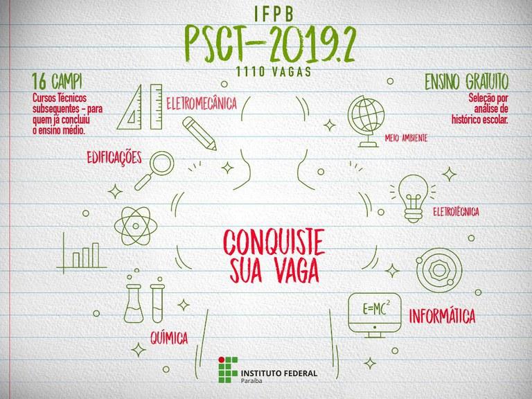 PSCT 2019.2: Inscrições abertas do Processo Seletivo para o Campus Patos, que oferece 120 vagas e abrirá inscrições de 06 a 24/05.