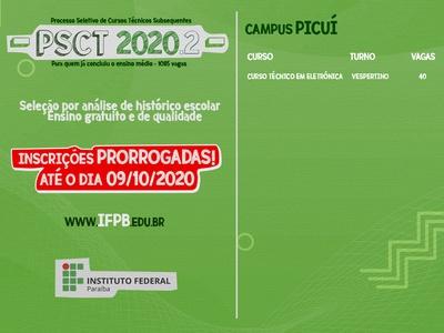 Novo prazo para se inscrever no PSCT 2020.2 vai até 09 de outubro