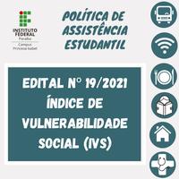 Publicado o Edital nº 19/2021.