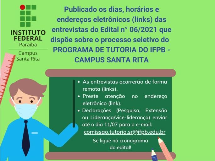 Documento traz informações sobre os dias e horários das entrevistas previstas no Edital nº 06/2021